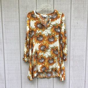 Umgee Van Gogh sunflower hippie tunic blouse, sz S
